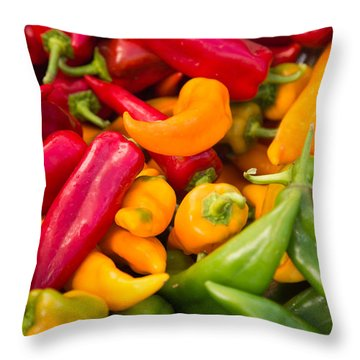 Red Yellow Green Peppers Together Throw Pillow