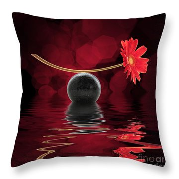 Red Zen Gerbera Throw Pillow by Delphimages Photo Creations