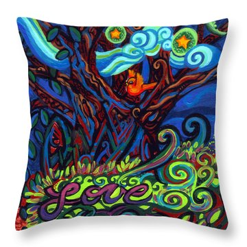Redbird Sings Song Of Love Throw Pillow by Genevieve Esson