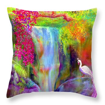 Waterfall And White Peacock, Redbud Falls Throw Pillow