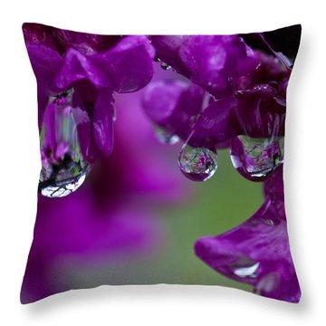 Redbud In The Rain Throw Pillow by Mark Alder