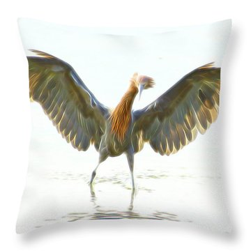 Throw Pillow featuring the digital art Reddish Egret 2 by William Horden