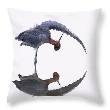 Reddish Egret Throw Pillow by Marie Read