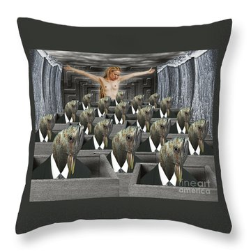 Redemption On The Cube Farm Throw Pillow by Keith Dillon