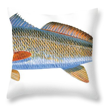 Redfish Throw Pillow by Carey Chen