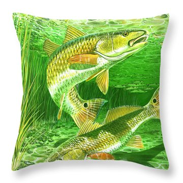 Redfish Haven In0018 Throw Pillow by Carey Chen