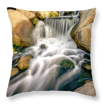Throw Pillow featuring the photograph Redhawk Waterfall by Robert  Aycock
