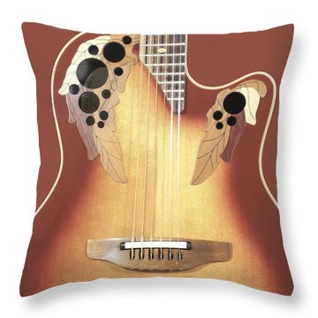 Redish-brown Guitar On Redish-brown Background Throw Pillow