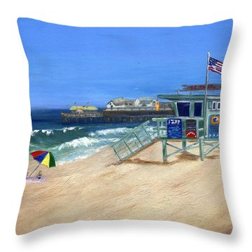 Redondo Beach Lifeguard  Throw Pillow