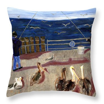 Redondo Beach Pelicans Throw Pillow by Jamie Frier