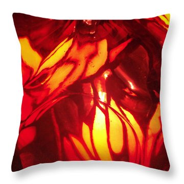 Reds Stained Glass Throw Pillow
