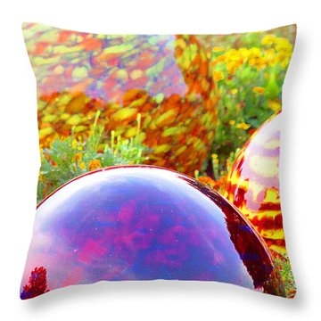 Redsphere With Flowers Throw Pillow