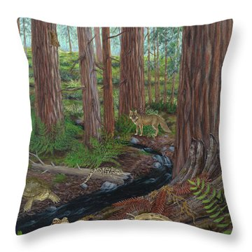 Redwood Forest Throw Pillow by Carlyn Iverson