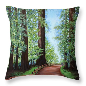 Throw Pillow featuring the painting Redwood Forest Path by Penny Birch-Williams