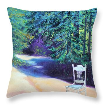 Throw Pillow featuring the painting Redwood Path And White Chair by Asha Carolyn Young