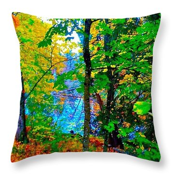 Reed College Canyon Reflections Of Autumn Throw Pillow by Anna Porter