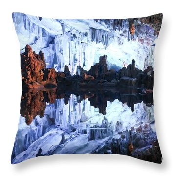 Reed Flute Cave Guillin China Throw Pillow by Thomas Marchessault