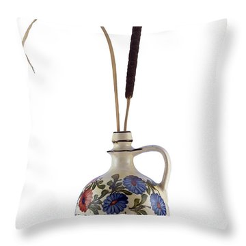 Reed In The Vase Throw Pillow by Michal Boubin
