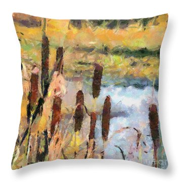 Reedmace Throw Pillow by Dragica  Micki Fortuna