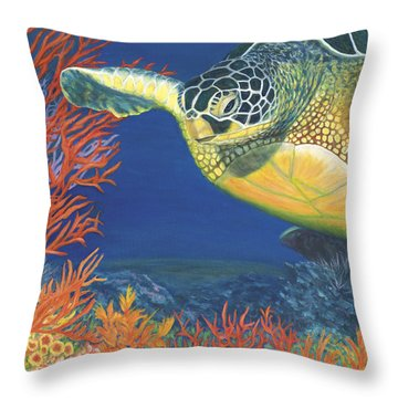 Throw Pillow featuring the painting Reef Rider by Karen Zuk Rosenblatt