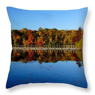 Refection Fall In Prior Lake Mn Throw Pillow