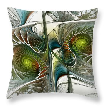 Reflected Spirals Fractal Art Throw Pillow
