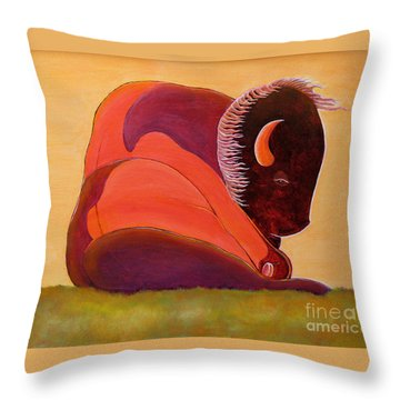 Reflecting Buffalo Throw Pillow