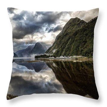 Throw Pillow featuring the photograph Reflecting On Milford by Chris Cousins