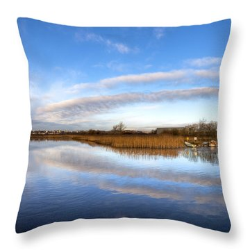 Reflecting Skies On The River Corrib In Galway Throw Pillow by Mark E Tisdale