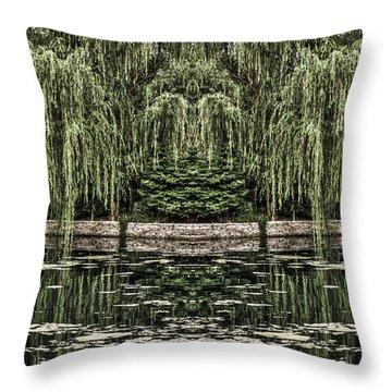 Reflecting Willows Throw Pillow by Rebecca Hiatt