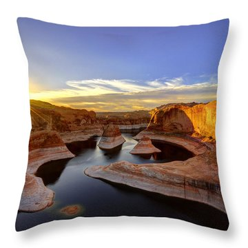 Throw Pillow featuring the photograph Reflection Canyon Sunrise by Dustin  LeFevre
