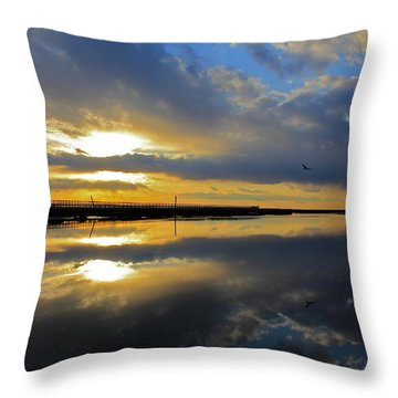 Reflection Grays Beach Boardwalk Throw Pillow