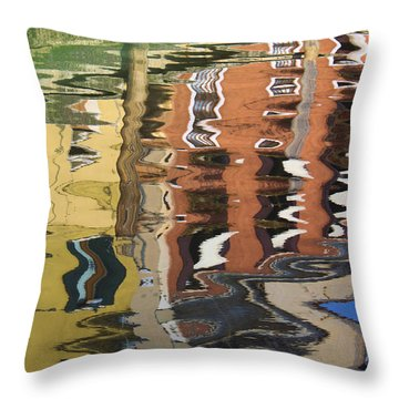 Reflection In A Venician Canal Throw Pillow by Ron Harpham