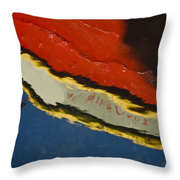Reflection In Water Of Red Boat Throw Pillow by Raimond Klavins