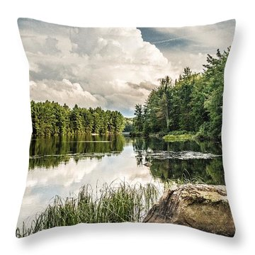 Throw Pillow featuring the photograph Reflection Lake In New York by Debbie Green