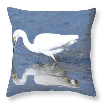Reflection Of A Snowy Egret Throw Pillow by Dan Williams