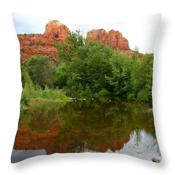Reflection Of Cathedral Rock Throw Pillow by Carol Groenen