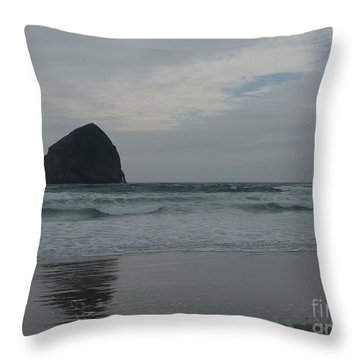 Throw Pillow featuring the photograph Reflection Of Haystock Rock  by Susan Garren