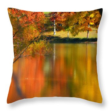 Reflection  Of My Thoughts  Autumn  Reflections Throw Pillow