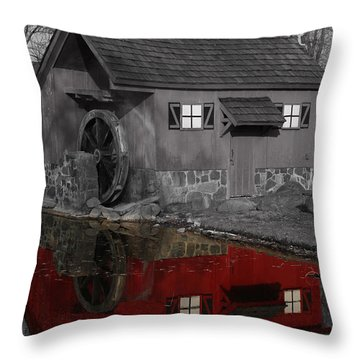 Reflection Of Red Mill Throw Pillow