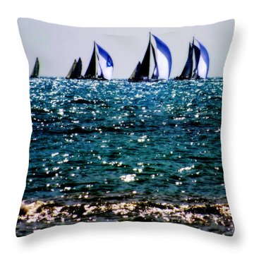Reflection Of Sails Throw Pillow by Karen Wiles