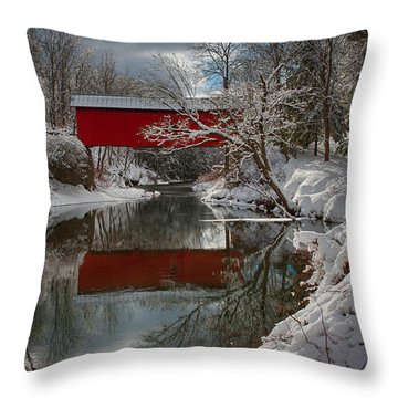 reflection of Slaughterhouse covered bridge Throw Pillow