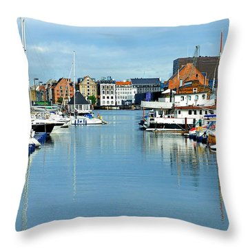 Reflection Of The Boats Throw Pillow