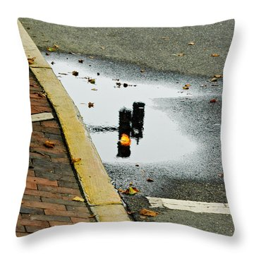 Throw Pillow featuring the photograph Reflection Of Traffic Light In Street Puddle by Gary Slawsky