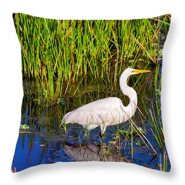 Reflection Of White Crane In Pond Throw Pillow