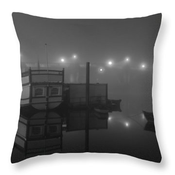 Reflection On Misty Thames  Throw Pillow by Maj Seda