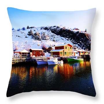 Reflection On Quidi Vidi Lake Throw Pillow by Zinvolle Art