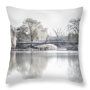Reflection Over Lake Winter Scene Throw Pillow
