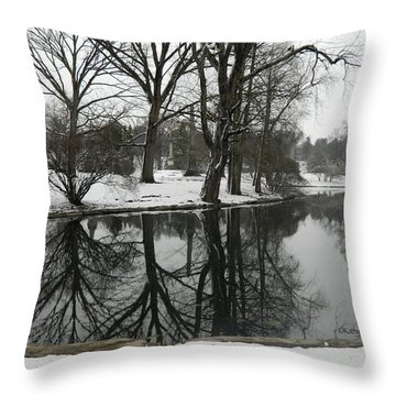 Throw Pillow featuring the photograph Reflection Pond Spring Grove Cemetery by Kathy Barney