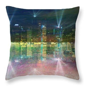 Reflection Water Skyline Throw Pillow by PainterArtist FIN